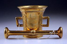 Early Danish brass mortar w royal monogram w pestle