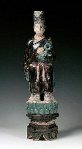 Superb XXL Chinese male Ming pottery figure on lotus throne!