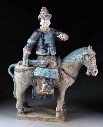 Ming Dynasty Mandarin armed officer tomb pottery Horseman!