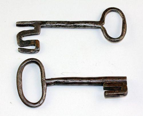 Pair of large Early European Iron keys, ca. 18th. century