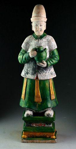 XXL Ming Dynasty tomb male pottery figure, attendant, 64 cm!