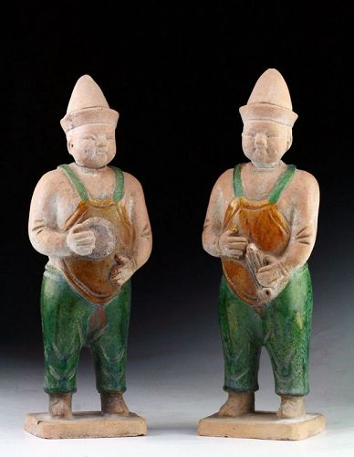 A pair of Ming Dynasty Attendants 'fatman', 1368-1644 AD!