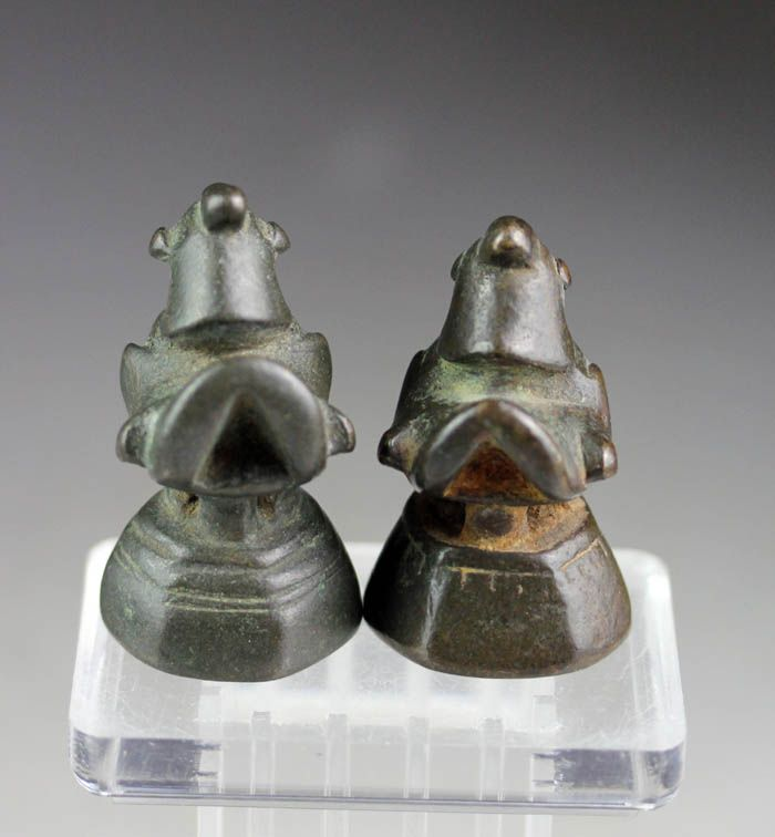 Fine pair of two bronze Opium weigts, Shan, ca. 18th. century!