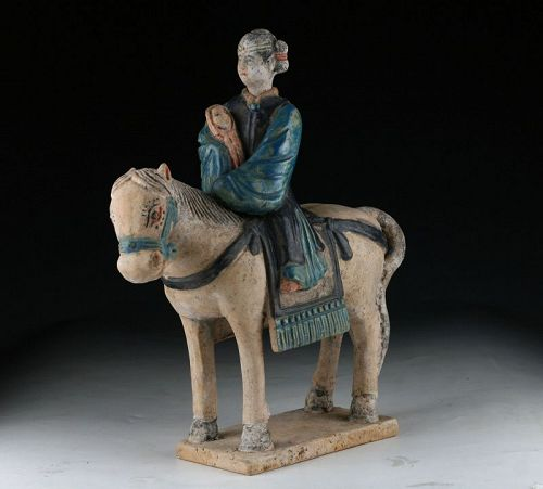 Large Female pottery horserider, w. child in her arms, Ming Dynasty