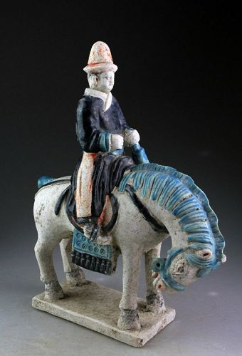 Chinese, Ming Dynasty tomb pottery figure, Musician on Horseback!