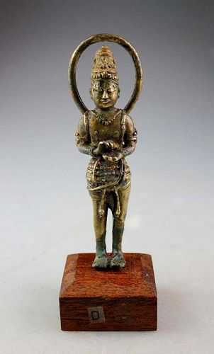 Fine Early Hindu Gilt Bronze figure of Vishnu, ca. 10th. century AD