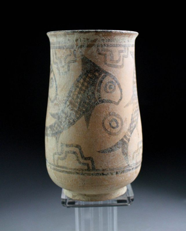 Fine larger Indus Valley pottery vase with fish,  mid 3rd. mill BC
