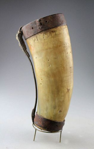 Inscribed bulls horn vessel, Indian Navajo, classic period pre 1850s