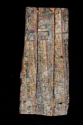 A massive Egyptian wooden casket panel, Late Period,