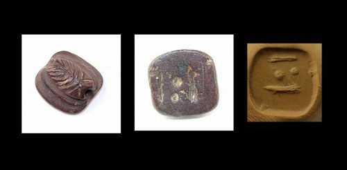 Rare red stone Scarab with hieroglyphs, Phoenician, ca. 800-500 BC