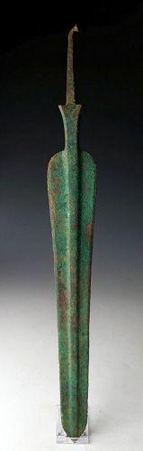 A superb & X-large Amlash tanged bronze lance, ca. 1000 BC