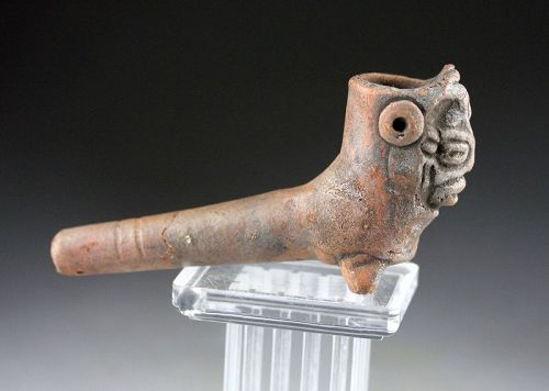 Rare Pre-columbian Aztec ceramic effigy pipe, 13th.-15th. cent