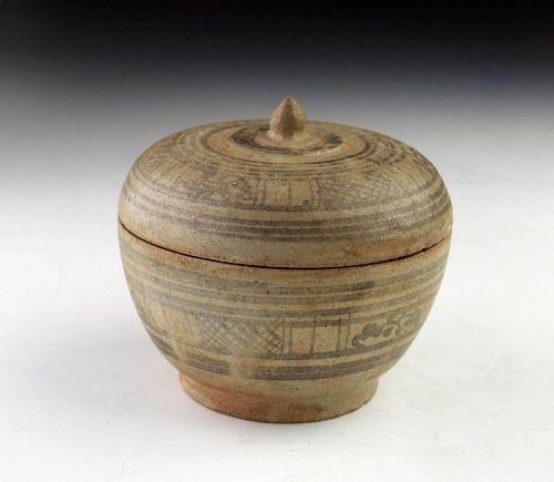 Thai / Sawankhalok Covered Box, Blue & White glaze, 15th-16th cent. AD