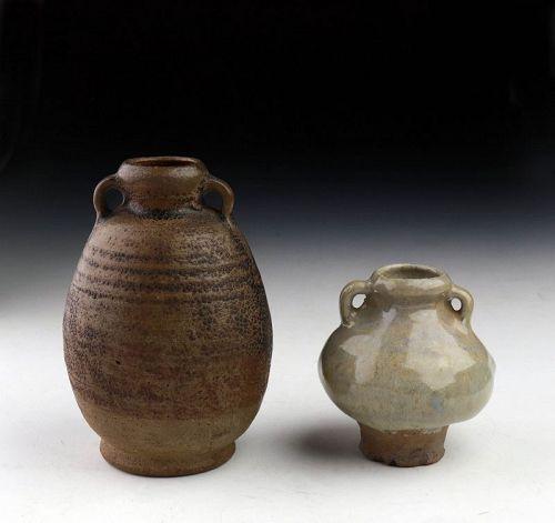 Pair of Thai / Sawankhalok glazed pottery Bottle Vases, 13th-15th cent