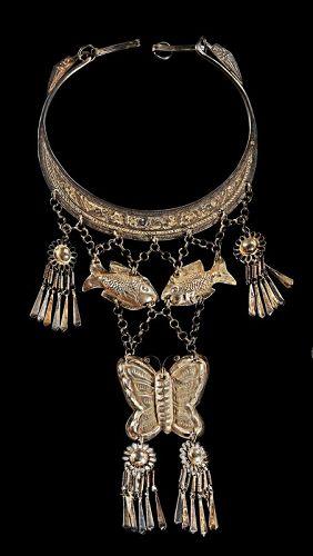 A large antique silver necklace, Hmong (Miao) culture