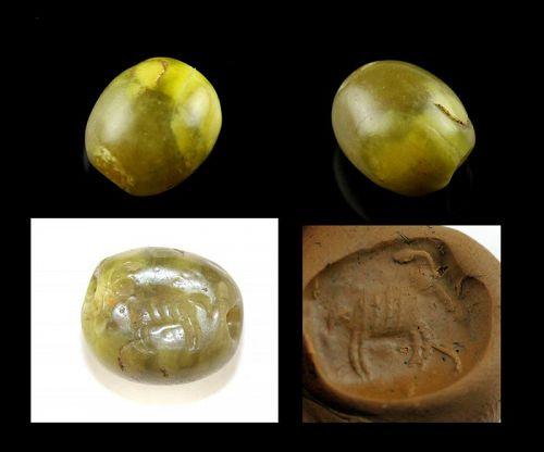 Rare Phoenician Scaraboid Flourite stone seal w armored Elephant