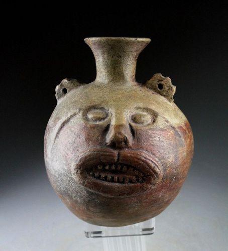 Fine Pre-Columbian Moche Feline head vessel, 5th.-7th. century AD