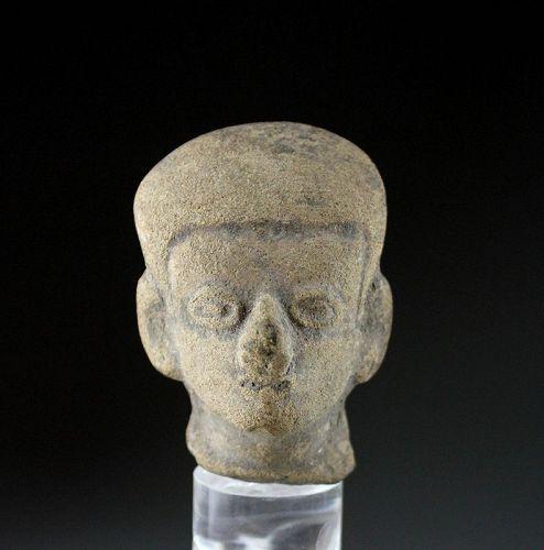 Pre-Columbian La-Tolita pottery head of dignitary w deformed skull