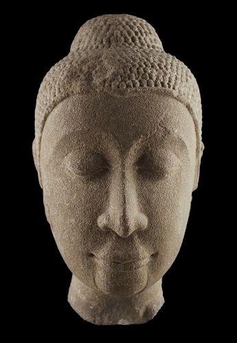 Important Sandstone head of Buddha, Thai Ayutthaya c. 14th. cent.AD