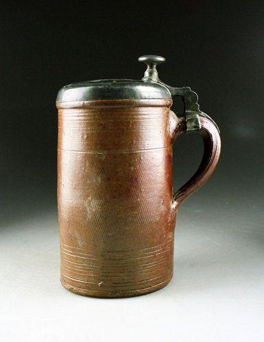Rare Superb German, Raeren, lidded Stoneware tankard, early 1800s