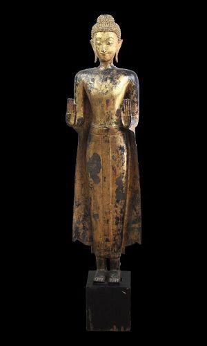 Museum Quality Thai gilt bronze buddha, 142 cm. 15th.-16th. cent.