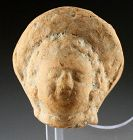 Nice greco-roman pottery head of deity, 2nd. cent. BC-1st. cent. AD