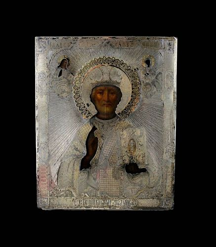 A lovely early Russian icon w 84 gilt silver Ritza, dated 1875 - gem!