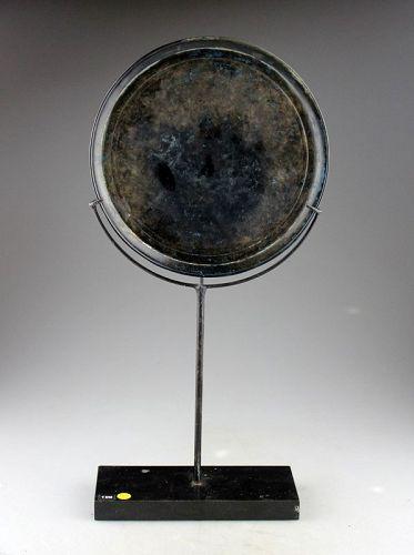 Massive 21 cm mounted Cambodia Khmer silver mirror, c. 12th. cent. AD