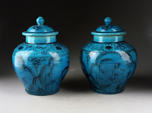 Pair of nice Chinese Cizhou ware covered torquise jars, early Ming