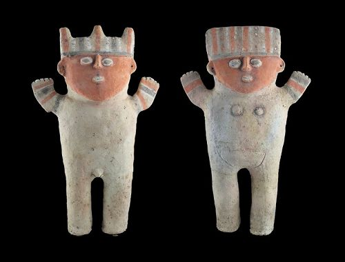 Matching Pair of massive Chancay Pottery Standing stargazer Figures!