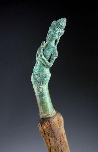 Extremely rare Khmer rituals bronze figural dagger w godess Uma!