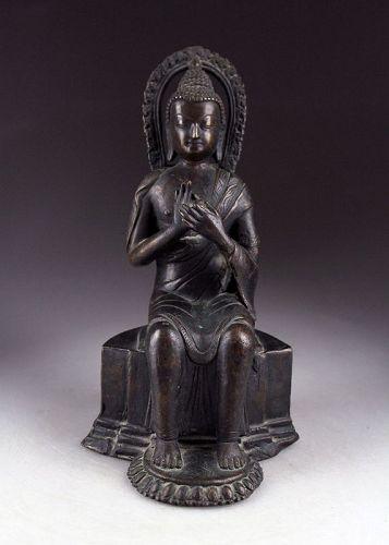Thai bronze figure of the seated Buddha , 18th.-19th. century