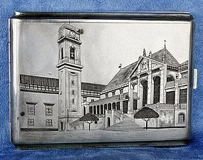 Vintage Silver Cigarette Box with University of Coimbra Design