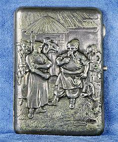 Antique Heavy 1890 Russian Repoussé Silver 84 & Gilt Cigarette Case