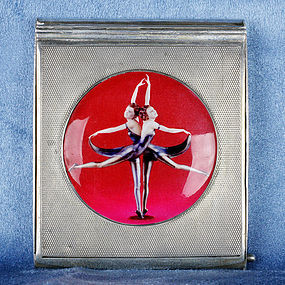 "English Silver Ladies Compact Enamel Case ""Butterfly Dancers"""