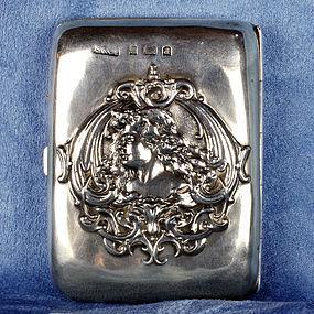 British Art Nouveau Sterling Silver Cigarette Case - Birmingham 1903