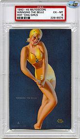 """1945 Mutoscope """"WRINGING THE BELLE"""" - HOTCHA GIRLS - PSA EX - MT 6"""