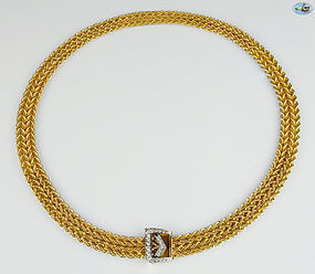 """Interlaced Chain Necklace with Diamonds in 14K Gold - 98.83 gr. 23"""""""