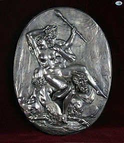 Henryk Winograd .925 Silver Plaque of Demons & Lady-Erotic Scene