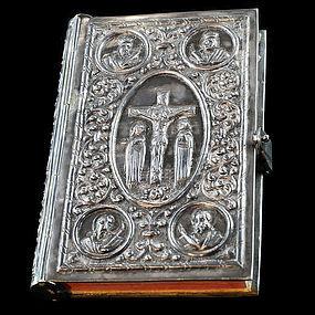 Rare 1953 Silver Bible with Repoussé of Jesus Christ & Apostles-HM 900