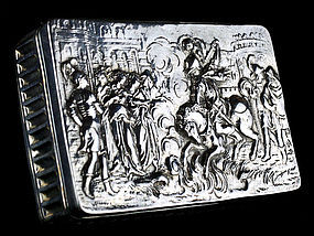 Antique Silver Box with Knights and Guilt Interior