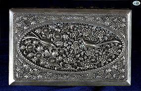 Antique Oriental Silver Box with astonishing Bird Repoussé Work - 1900