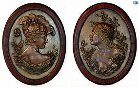 Pair of Large Antique Art Nouveau Women Bronzed Metal Repoussé Plaques