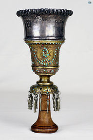 1800 Persian Ottoman Silver Brass Hookah Cup top with Turquoise Garnet