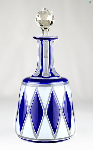 19th Century Blue and White Bohemian Glass Decanter with Stopper