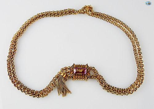 Charming Vintage British 10K Rose Gold Choker Necklace
