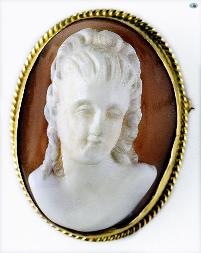 Antique 14K Gold Hand Carved Victorian Cameo Shell Brooch