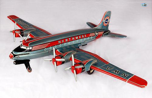 NWA Northwest Airlines 4 Prop Engine Tin Toy Airplane Asahi Japan