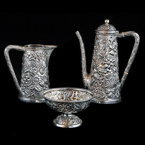 1880 Black, Starr & Frost Sterling Silver 3 Piece Coffee Set Repoussé