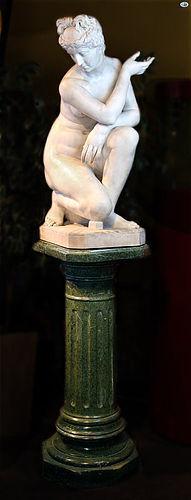 Antonio Frilli 19th C. Italian Marble Statue of Venus w/Column Base